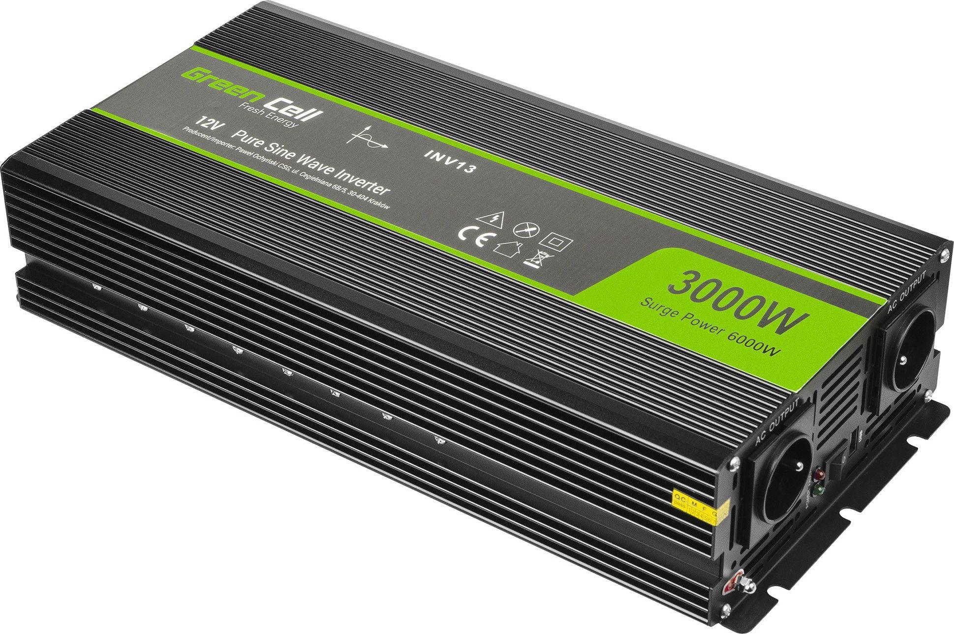 Green Cell  Registered  Voltage Car Inverter 12V to 230V, 3000W/6000W, Full Sine Wave Strāvas pārveidotājs, Power Inverter