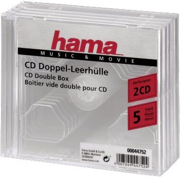 Hama CD Double Jewel Case, Pack 5  44752 44752