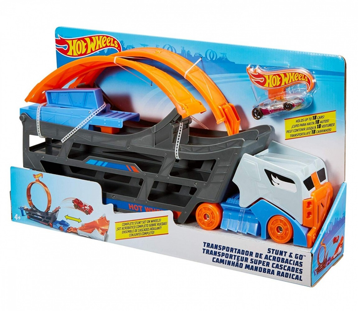 Hot Wheels Stunt N Go Transportation & Trackset, Toy Vehicle