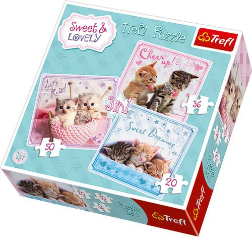 Trefl 3in1 Sweet & Lovely Sweet cats - 34809 puzle, puzzle