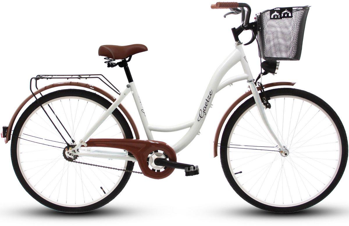 Goetze Rower miejski ECO 26'' bialy z metalowym koszem 4031225 Pilsētas velosipēds
