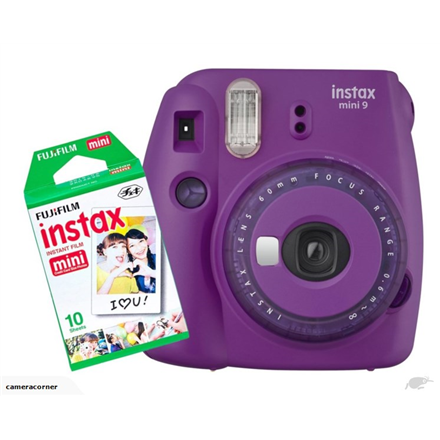 Fujifilm Instax Mini 9 camera Purple, 0.6m, Instant camera + 10 pcs. of glossy Digitālā kamera