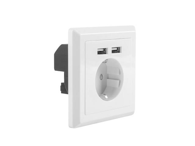 Lanberg AC Wall Socket schuko with 2 Port USB Charger, White