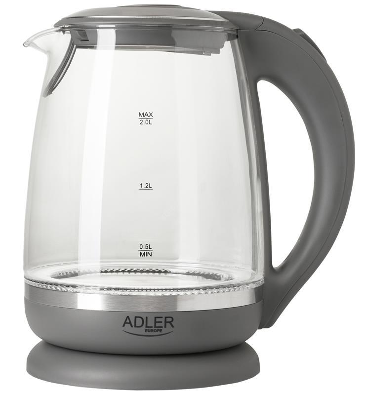 Adler Kettle AD 1286 Standard, 2200 W, 2 L, Plastic/ glass, Grey/ transparent, 360° rotational base 5902934834230 Elektriskā Tējkanna