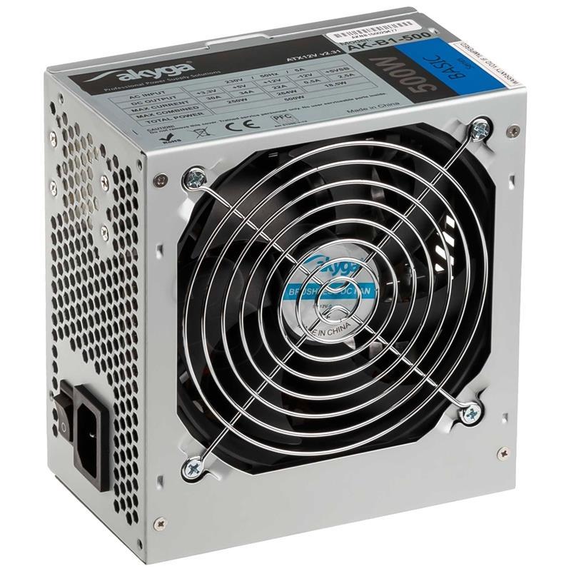 AKYGA BASIC ATX 500W P4 FAN12CM 3XSATA 2xMOLEX PCI-E 6PIN Barošanas bloks, PSU