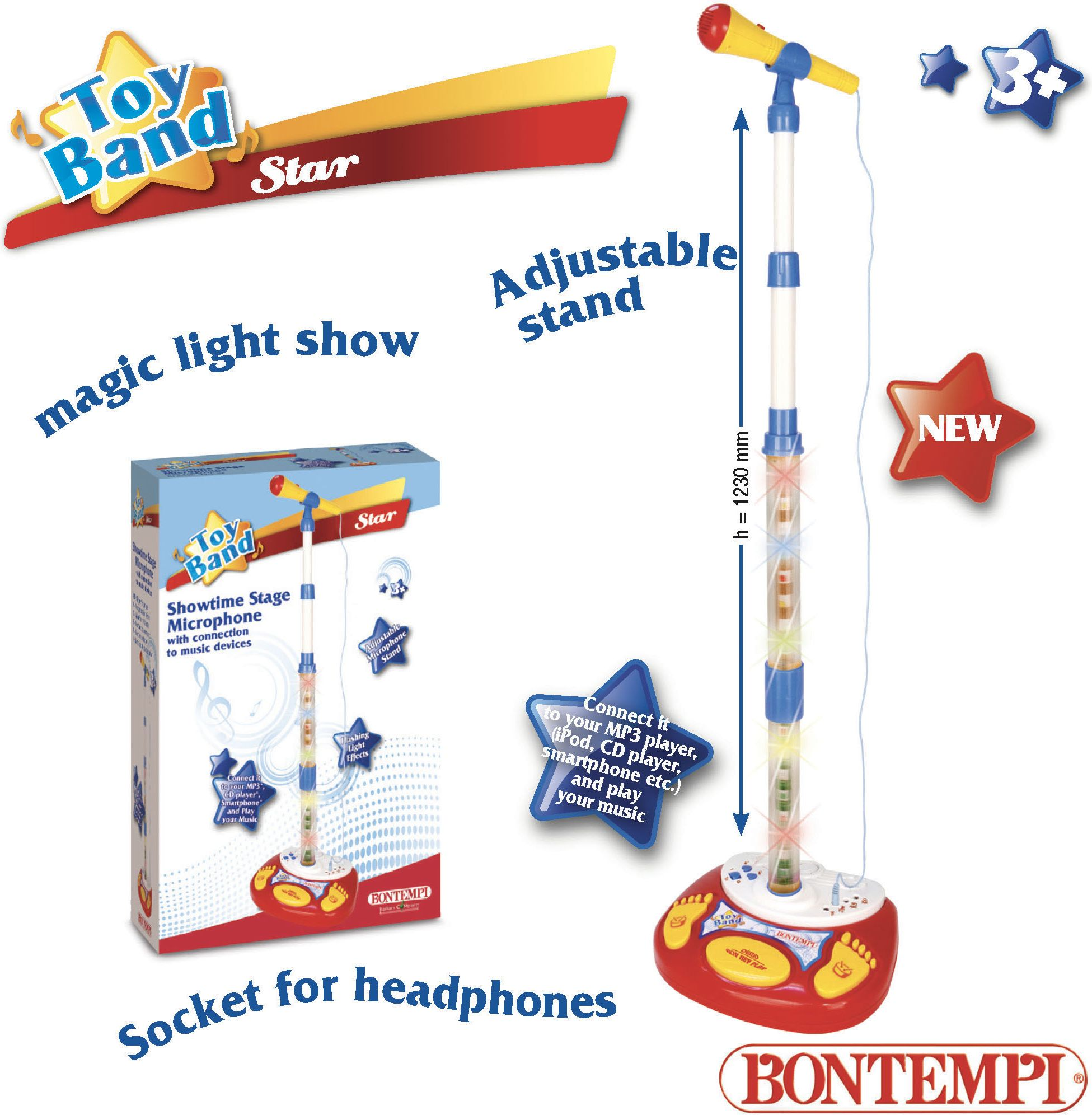 Bontempi Star microphone with tripod and light effects (MP3)