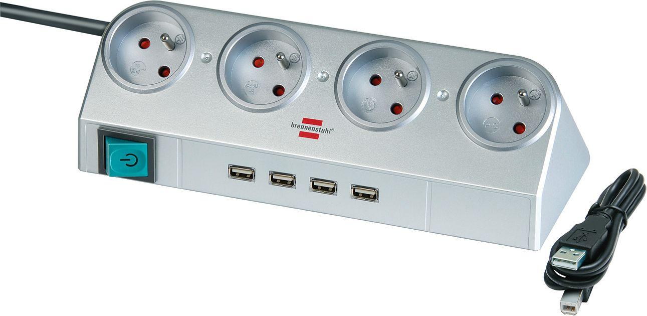 Brennenstuhl Desktop-Power 4 sockets 1.8 m silver (1153541134) elektrības pagarinātājs