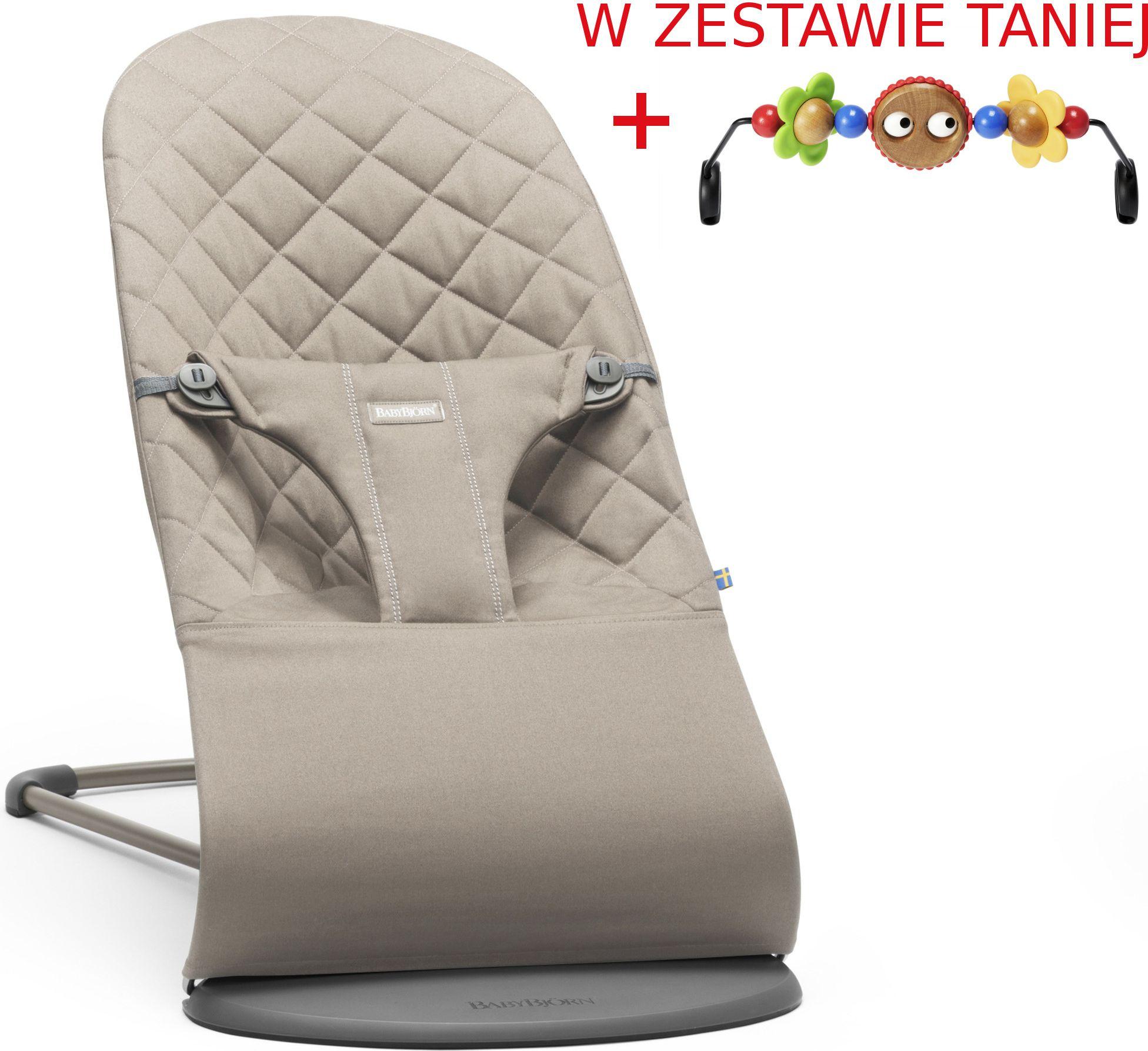 BABYBJORN  Lezaczek BLISS  Piaskowy szary + Zabawka 7317686060178 šūpuļkrēsls