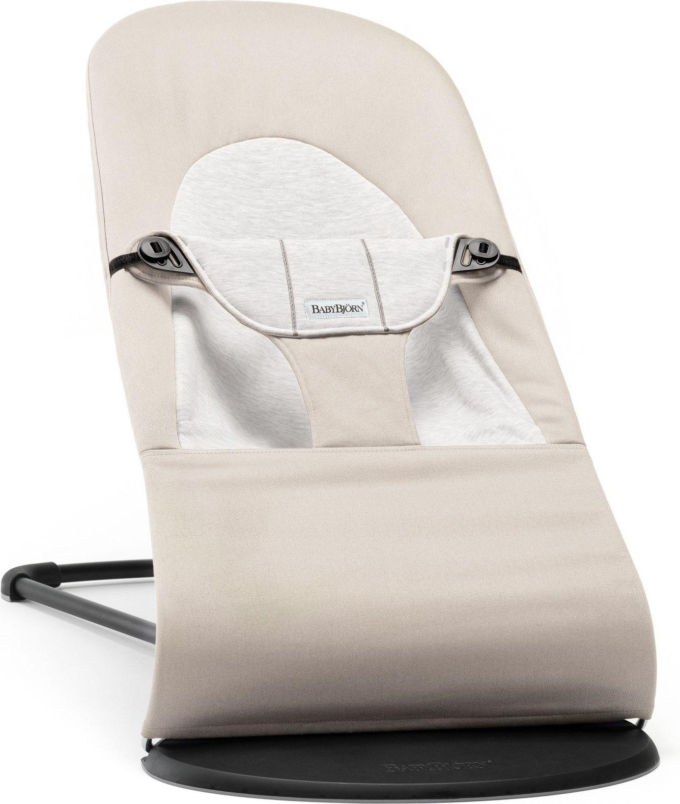 BABYBJORN  BABYBJORN - lezaczek BALANCE SOFT COTTON/JERSEY - Bezowy/Szary  - 7317680050830 7317680050830 šūpuļkrēsls