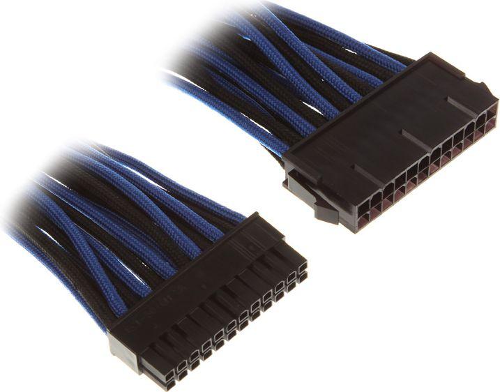 BitFenix 24-Pin ATX przedluzacz 30cm - sleeved - Black Blue aksesuārs datorkorpusiem