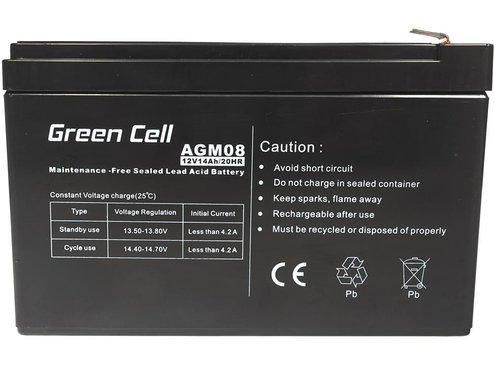 Green Cell AGM Gel Battery 12V 14Ah UPS aksesuāri