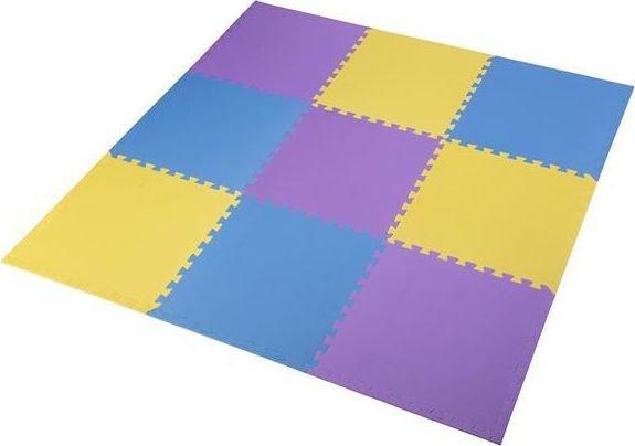 One Fitness Mat puzzle 9 pcs yellow-blue-purple (17-63-081) Matrači un tūrisma paklāji