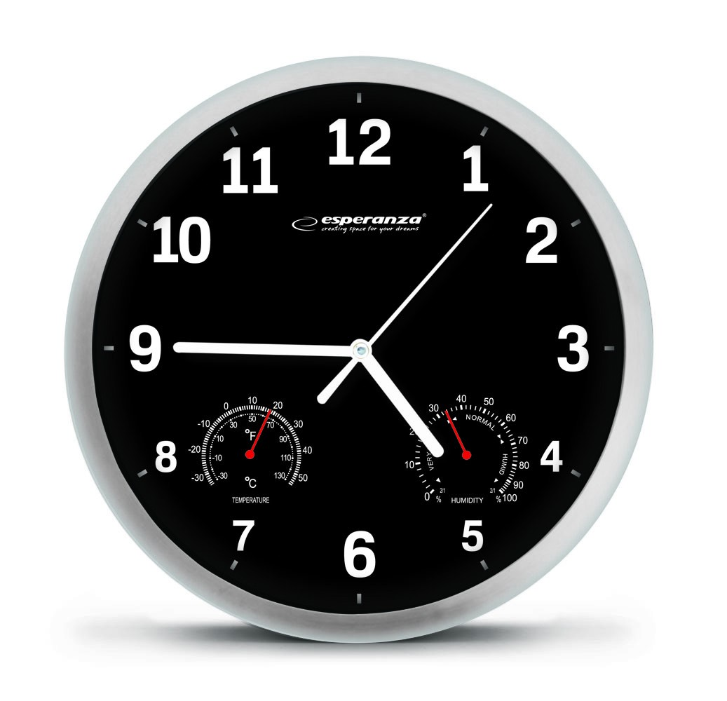 Esperanza EHC016K WALL CLOCK -  LYON - BLACK Sienas pulkstenis