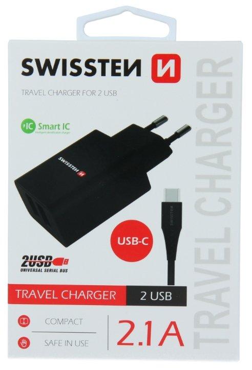 Swissten Smart IC Tīkla Lādētājs 2x USB 2.1A ar USB-C vadu 1.2 m Melns iekārtas lādētājs