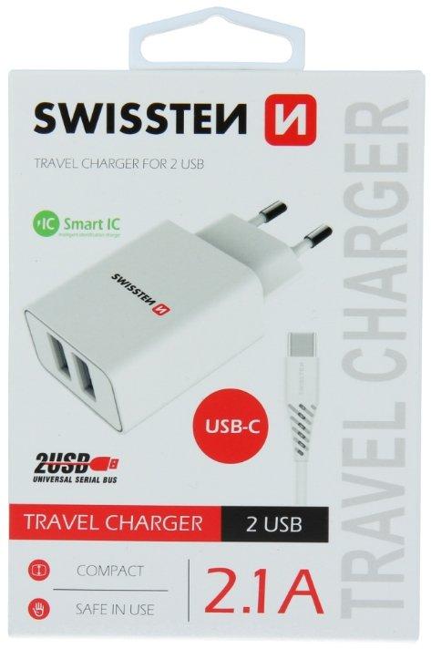 Swissten Smart IC Tīkla Lādētājs 2x USB 2.1A ar USB-C vadu 1.2 m Balts iekārtas lādētājs