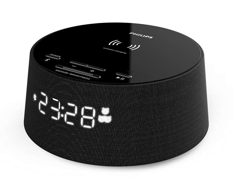 Philips Alarm Clock TAPR702/12, Wireless phone charger, Dual alarm function, USB port akustiskā sistēma