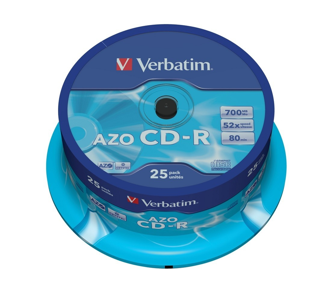 Verbatim CD-R 80/700MB 52X 25pack AZO CRYSTAL cake box - 433 matricas