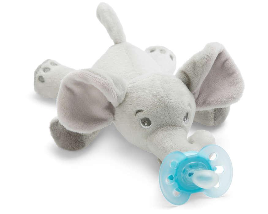 Philips Avent plīša rotaļlieta Zilonītis ar Ultra soft māneklīti 0–6 mēn. SCF348/13 māneklītis, knupis