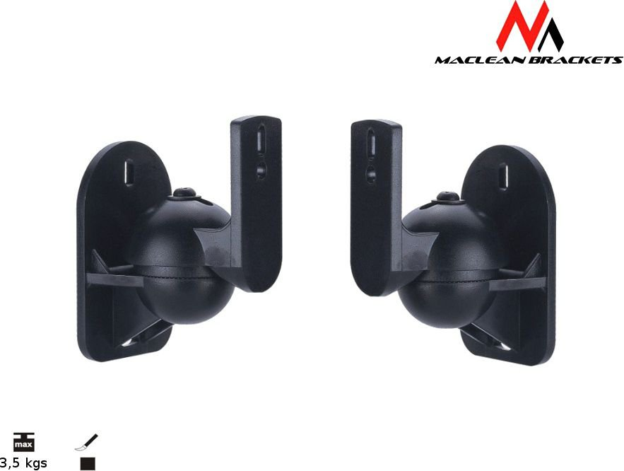Maclean MC-526 2x Speaker Wall Mount Bracket up to 3,5 KG, Tilt Rotation Swivel datoru skaļruņi