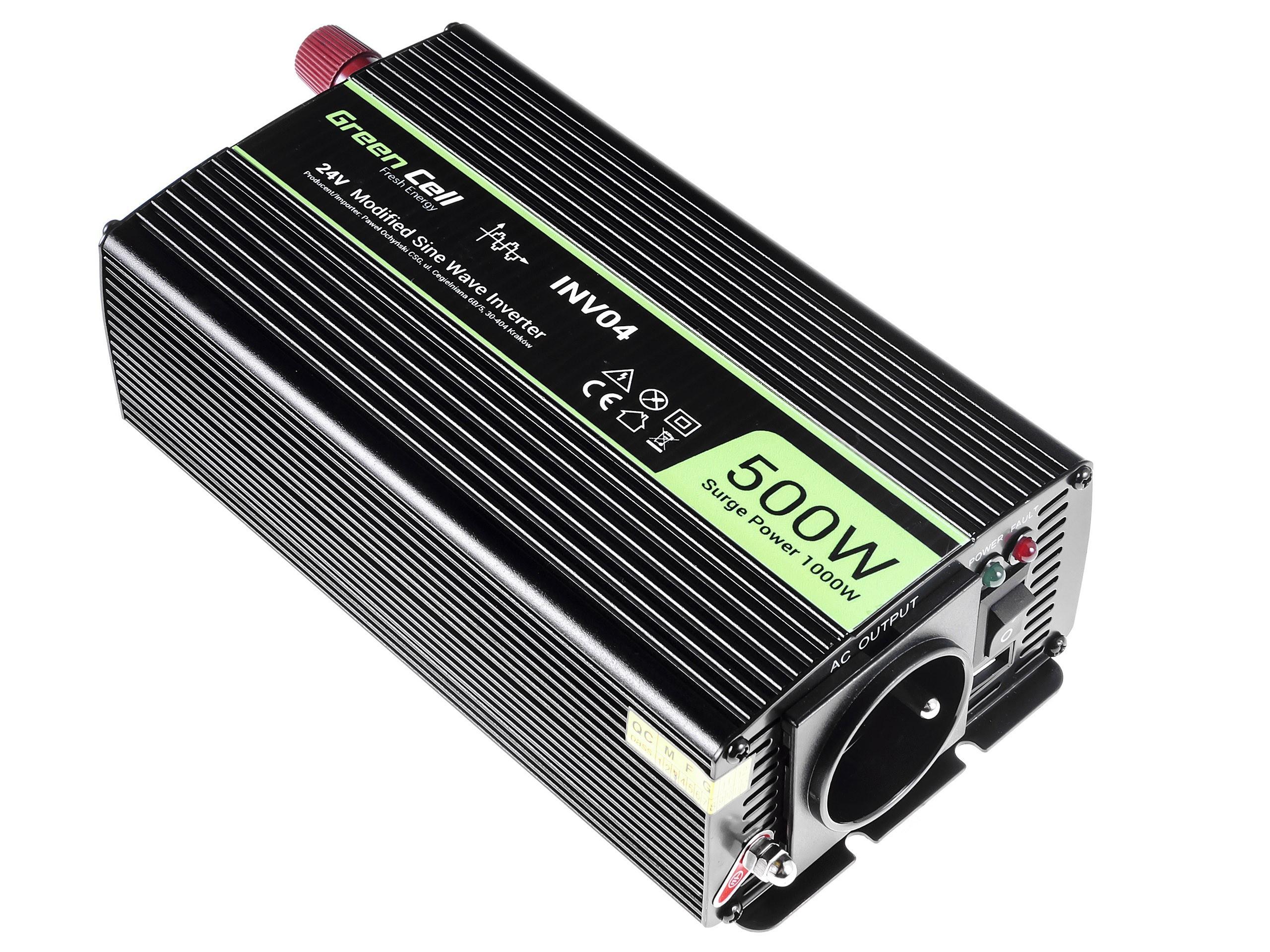 Green Cell  Registered  Voltage Car Inverter 24V to 230V, 500W/1000W Strāvas pārveidotājs, Power Inverter