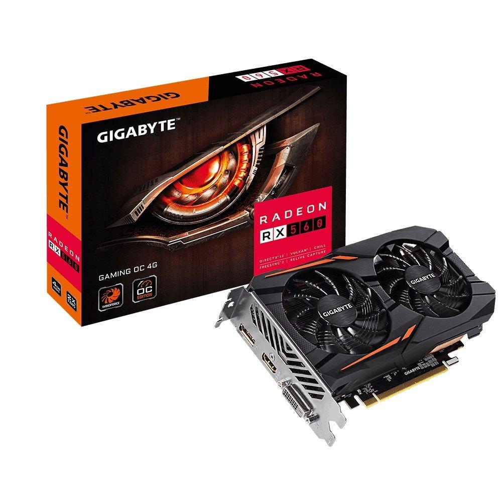 Gigabyte AMD, 4 GB, Radeon RX 560, GDDR5, PCI Express 3.0, Processor frequency 1234 MHz video karte
