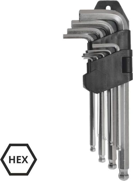AWTools Zestaw kluczy imbusowych hex typ L 1,5-10mm z kulka 9szt. (AW40528) AW40528