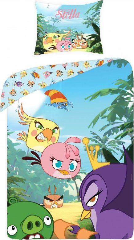 Angry Birds Posciel Angry Birds 160x200 cm + poduszka 70x80 cm niebiesko-fioletowa 5046120 Gultas veļa