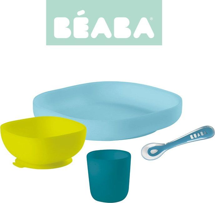 Beaba A set of silicone dishes with a blue suction cup piederumi bērnu barošanai