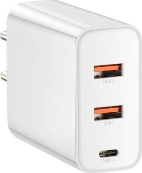 Baseus PPS 2xUSB QC + USB-C PD 60W white iekārtas lādētājs