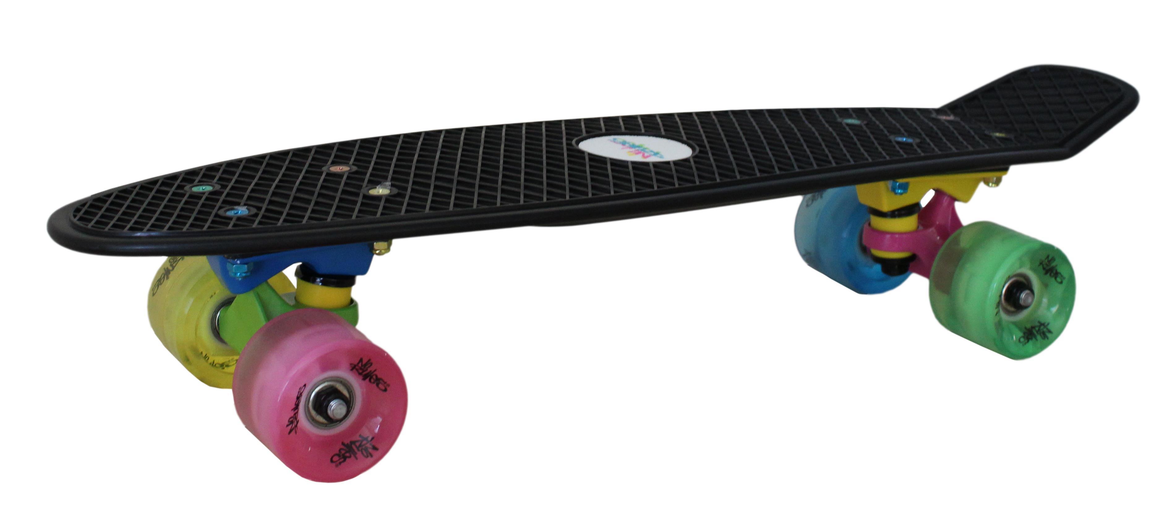 No Rules Skateboard fun NEON skrituļdēlis ar gaismiņām, melns AU 293 Skrejriteņi