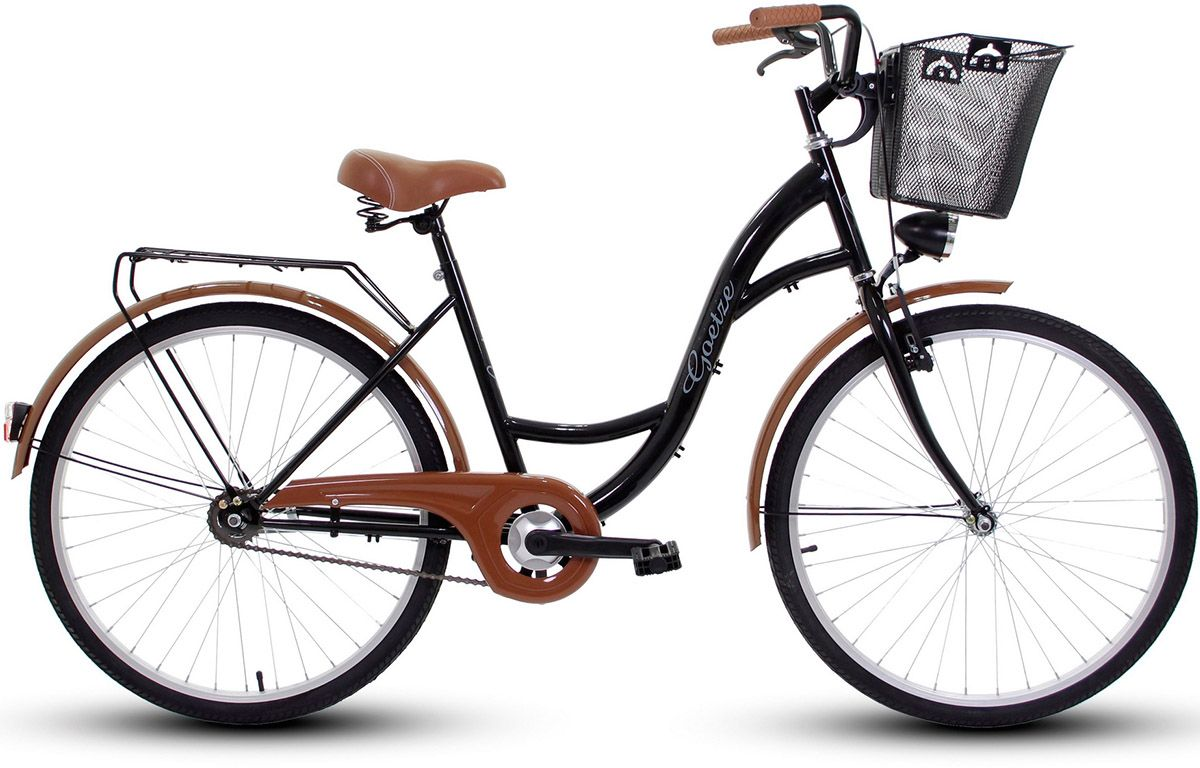 Goetze Rower miejski ECO 26'' czarny z metalowym koszem 4031223 Pilsētas velosipēds