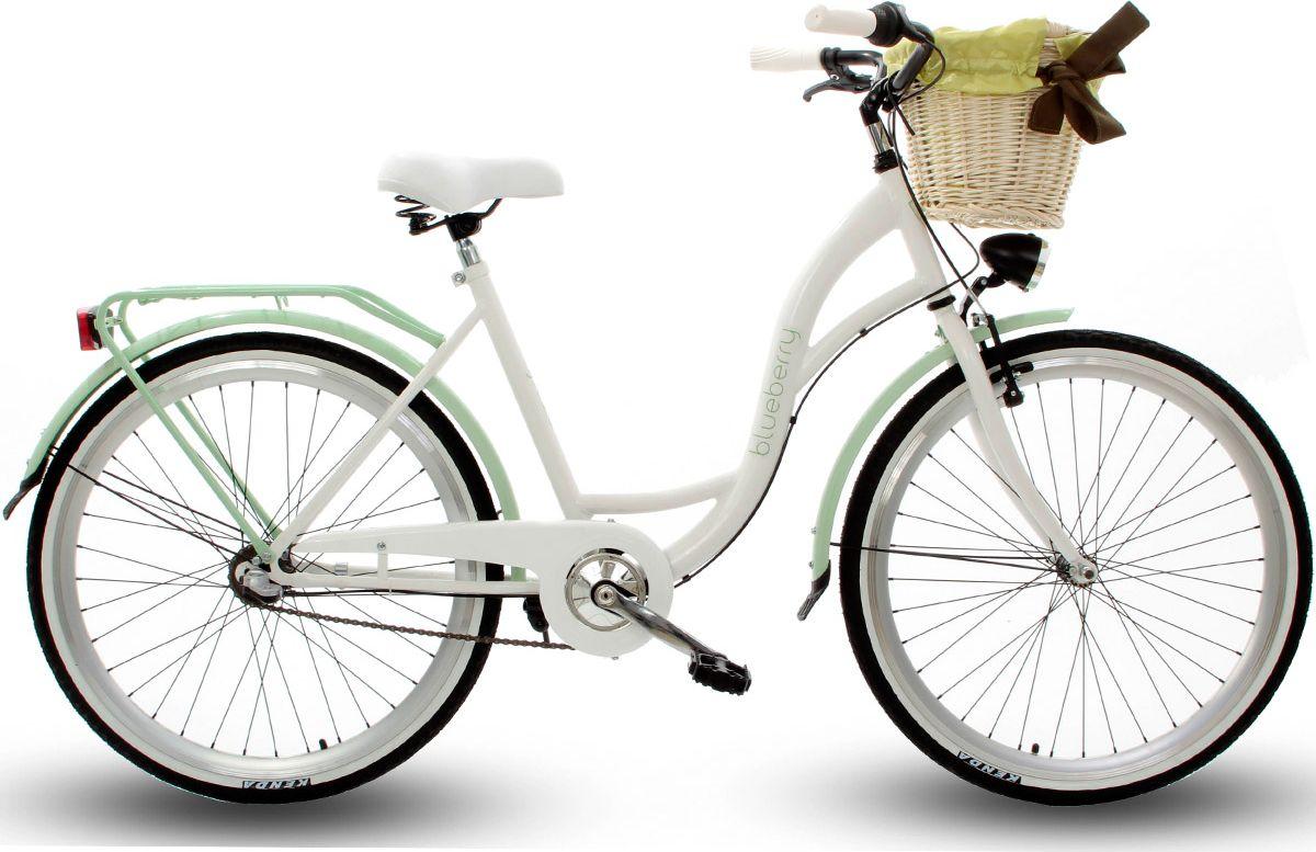 Goetze Rower miejski Blueberry 26 trzybiegowy bialo-zielony z metalowym koszem 4031230 Pilsētas velosipēds