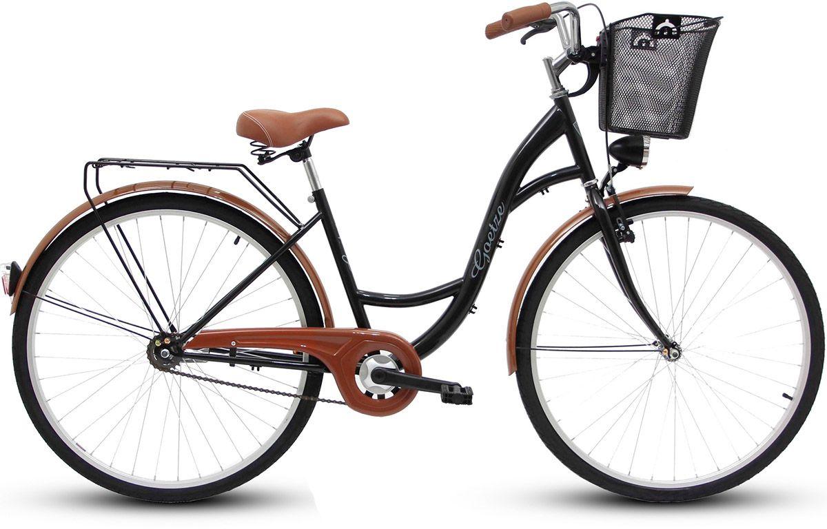 Goetze Rower miejski ECO 28'' czarny z metalowym koszem 4031217 Pilsētas velosipēds