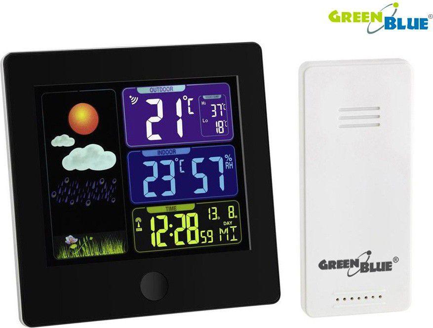 GreenBlue Weather Station Wireless DCF GB521B black barometrs, termometrs