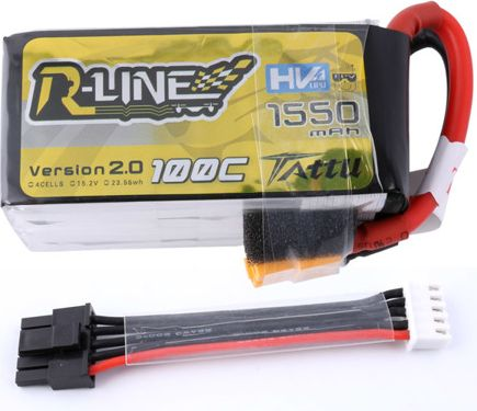 Gens Ace 1550mAh 15.2V 100C TATTU R-Line w/ balancer input wire