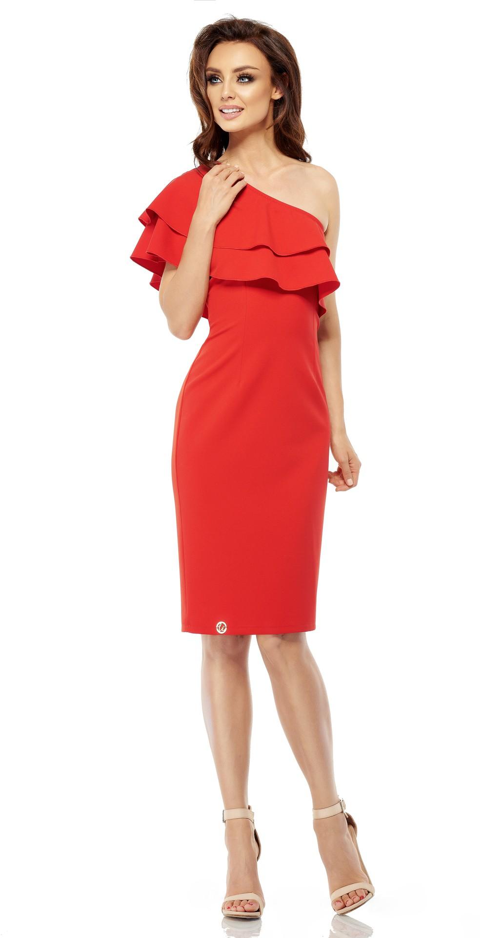 Lemoniade Olsniewajaca sukienka na jedno ramie L254 czerwona r. L L254 Kleitas sievietēm