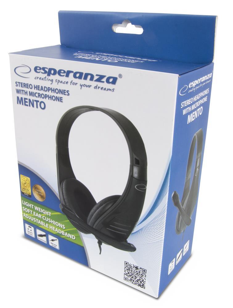 Headphones Esperanza MENTO EH209K (black color) austiņas