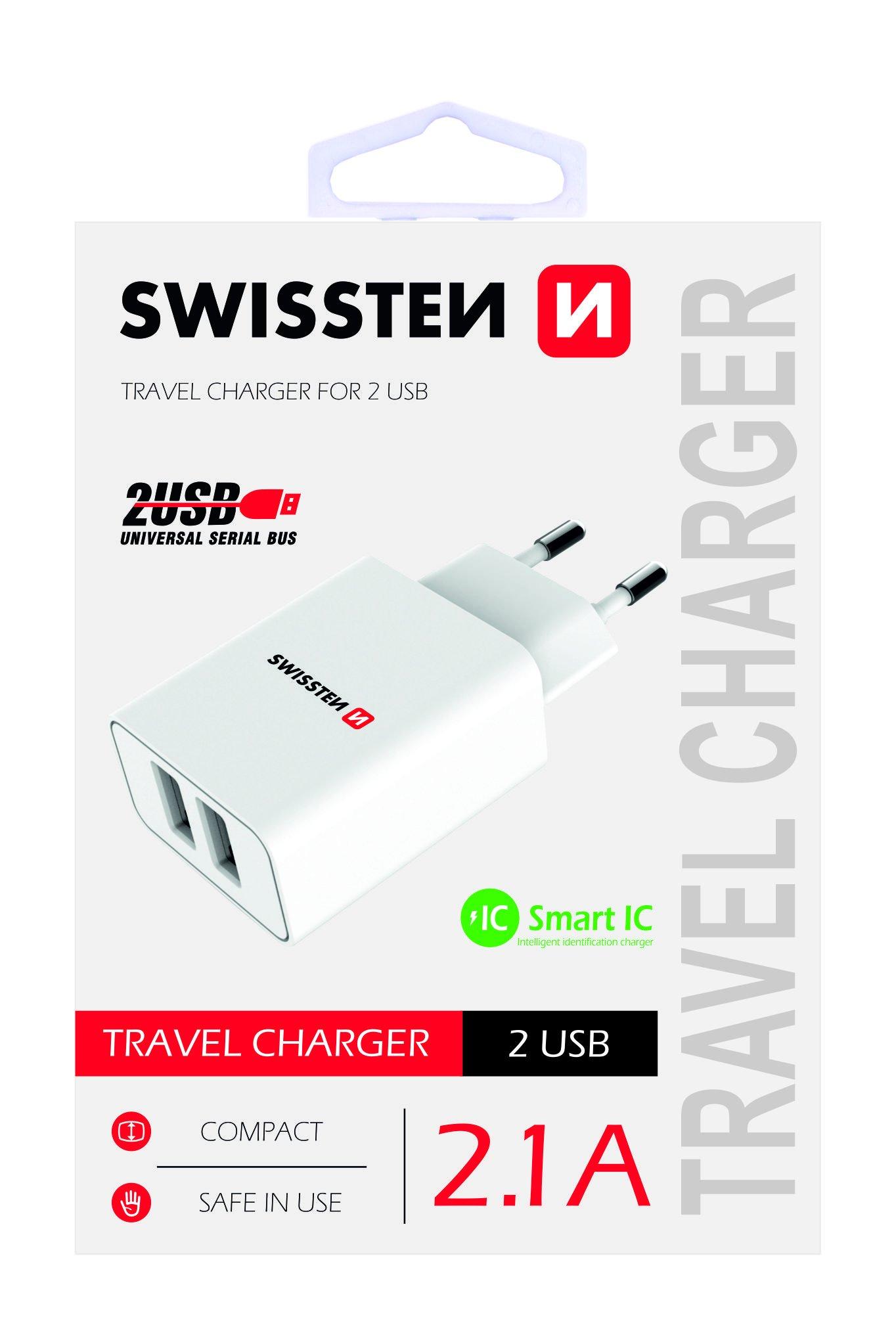 Swissten Premium Tīkla Lādētājs USB 2.1А / 10.5W Balts iekārtas lādētājs