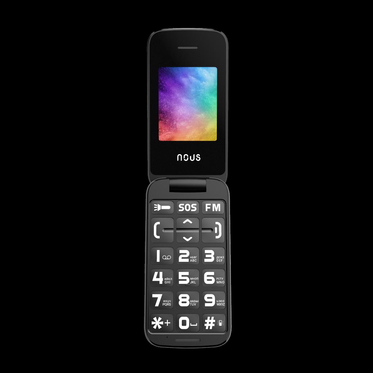 NOUS NS2435 Helper Flip Dual SIM Black NS2435BK Mobilais Telefons