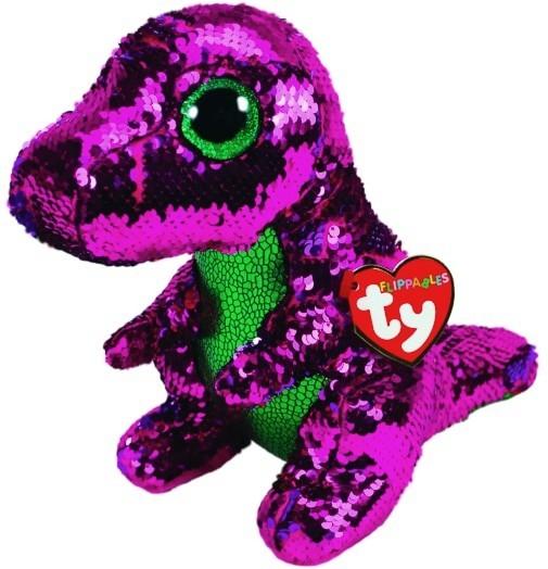 Meteor Mascot Beanie Boos Flippables Sequine dinosaur 24 cm