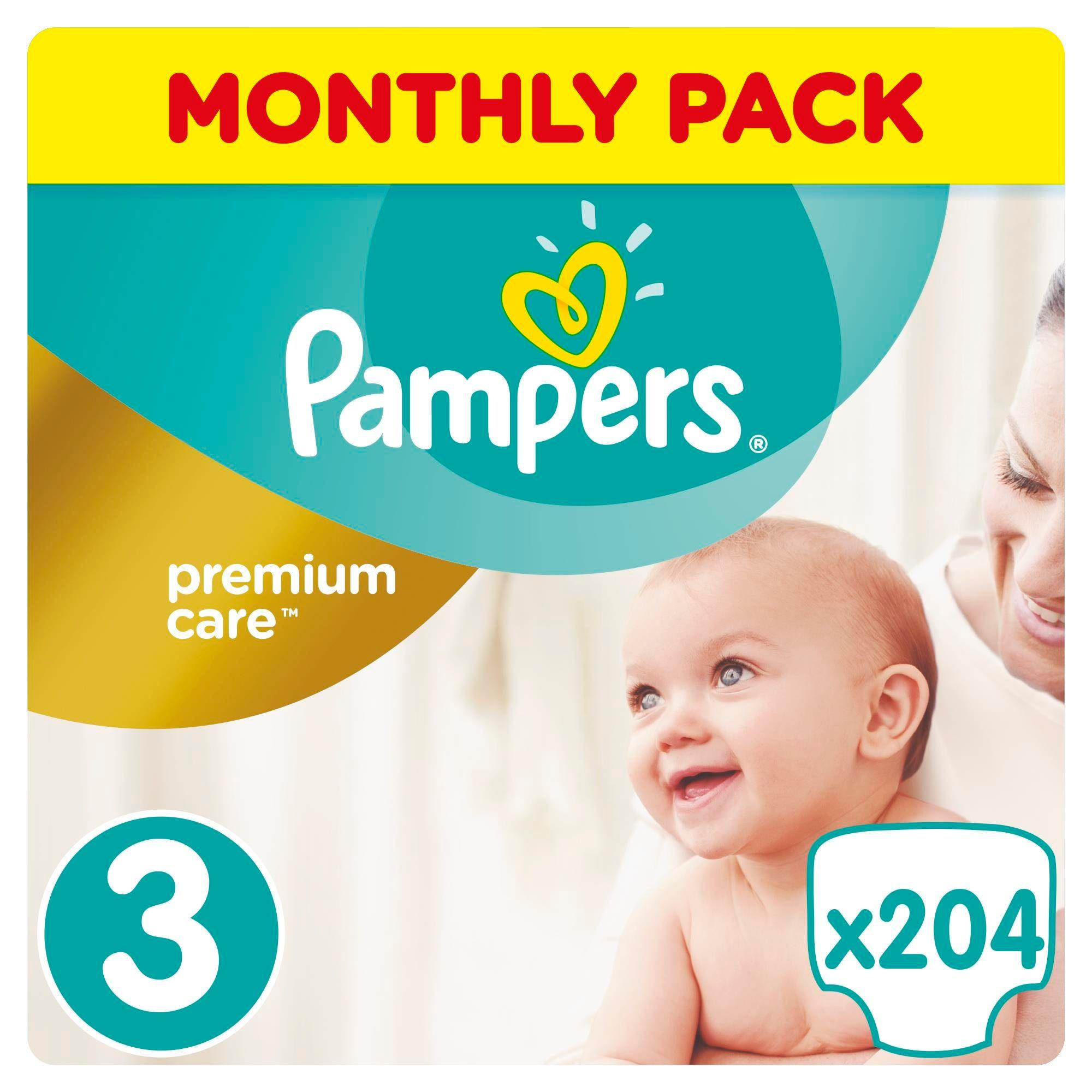 Pampers Premium Protection Size 3, Nappy x204, 6kg-10kg