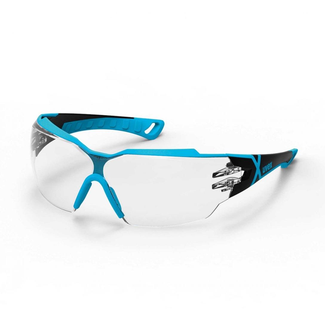 UVEX aizsargbrilles Pheos CX2, caurspidiga leca, supravision excellence (pretaizsvistosas, pretskrapejosas) melnas/gaisi zilas