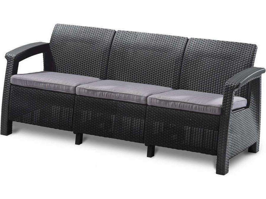 Keter Dārza dīvāns trīsvietīgs Corfu Love Seat Max pelēks 29197959939 Dārza mēbeles