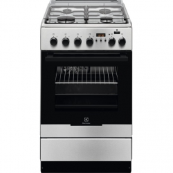Electrolux Cooker EKK54953OX Hob type Gas, Oven type Electric, Black/Stainless steel, Width 50 cm, Electronic ignition, Grilling, LCD, 54 L, Cepeškrāsns