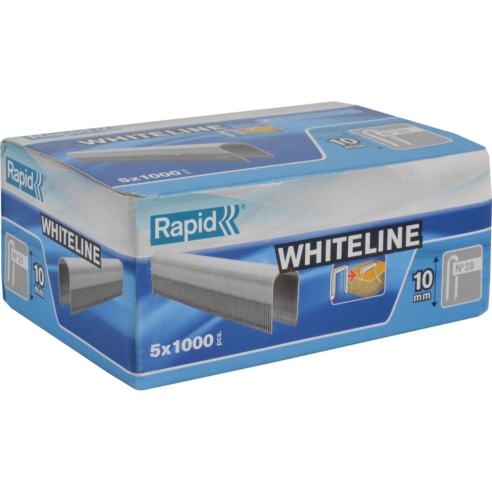 Cable staples No 28 10mm white 5x1000pcs carton box