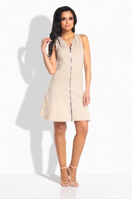 Lemoniade Kobieca sukienka z zamkiem z przodu bezowa r. S (L183) L183 Kleitas sievietēm