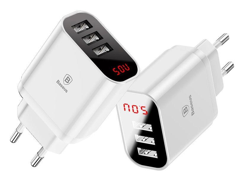 Baseus Mirro Lake Intelektuālais Tīkla lādētāis - adapteris 3x USB 3.4A ar sprieguma / jaudas displeju Balts iekārtas lādētājs