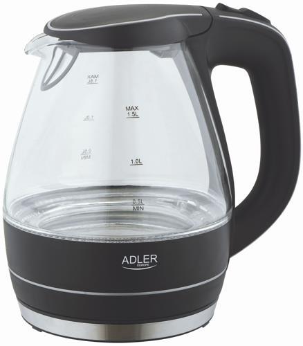 Adler AD1224   1,5L   black Elektriskā Tējkanna