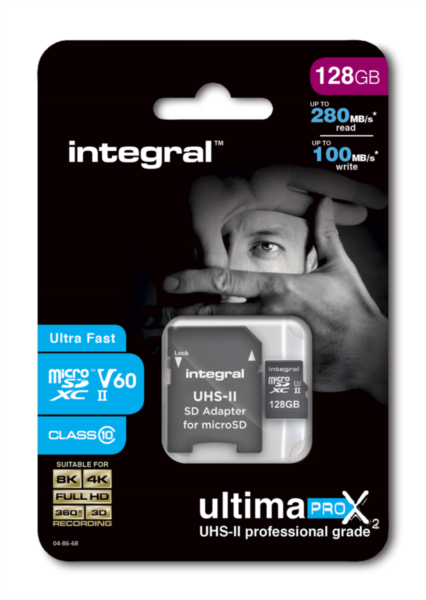 Integral microSDXC 280-100MB UHS-II V60 + SD Adapter, 128GB