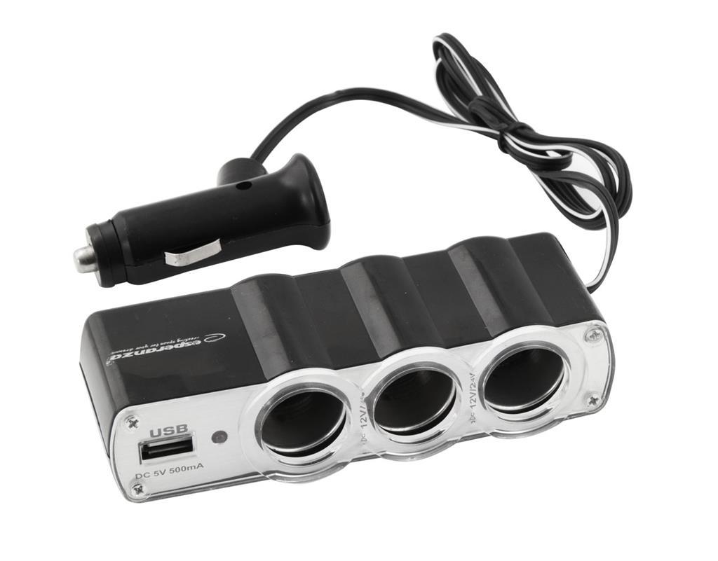 Esperanza EZ124 - Car cigarette lighter socket splitter with 1USB WAWE iekārtas lādētājs